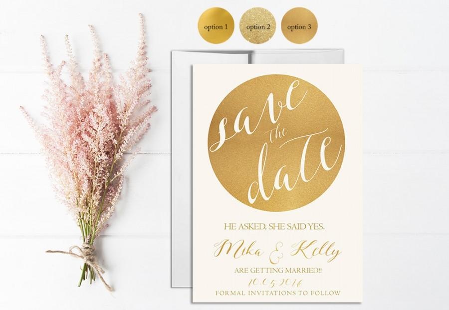 Gold Save The Date Invitation Printable, Wedding Save The Date