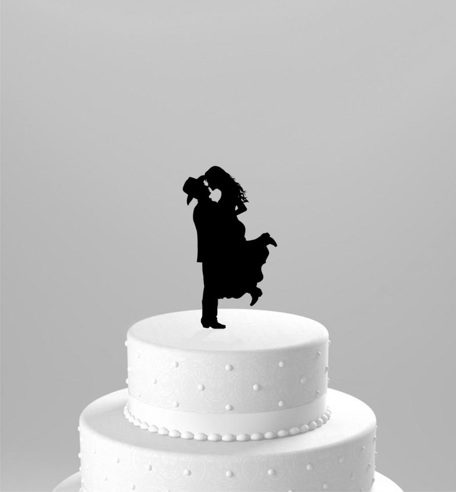 Свадьба - Ships NEXT Day! Country Western Wedding Cake Topper Silhouette Cowboy with Hat & both wearing boots, BLACK Acrylic Cake Topper [CT17w]