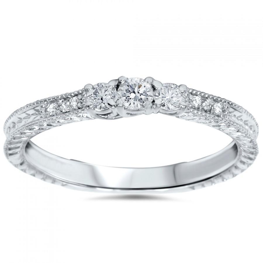 4ct 3 Stone Diamond Engagement Ring Vintage Antique Style 14k White Gold Size  49