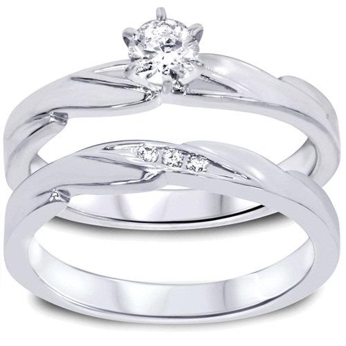 Свадьба - Diamond .28CT Engagement Wedding Ring Set 10K White Gold
