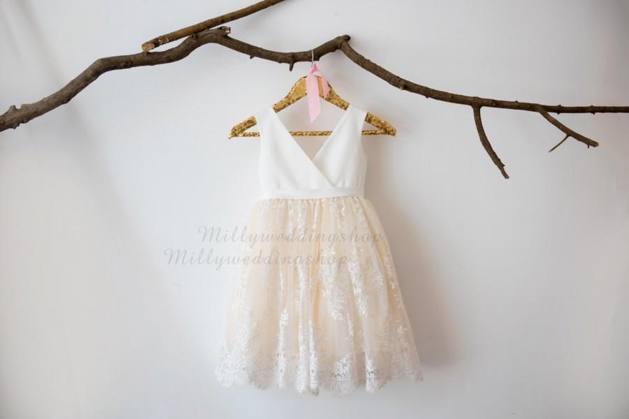 Свадьба - Ivory Satin Lace Champagne Tulle V Neck Flower Girl Dress Wedding Bridesmaid Dress M0036