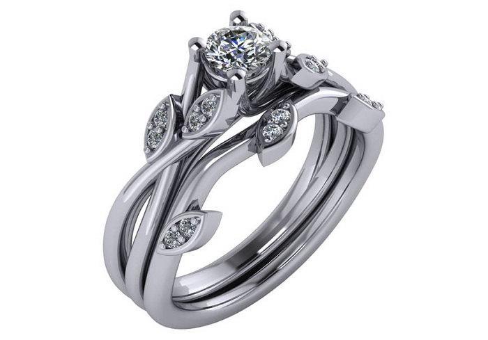 Unique Diamond Engagement Ring Lotus Flower Wedding Sets RIng