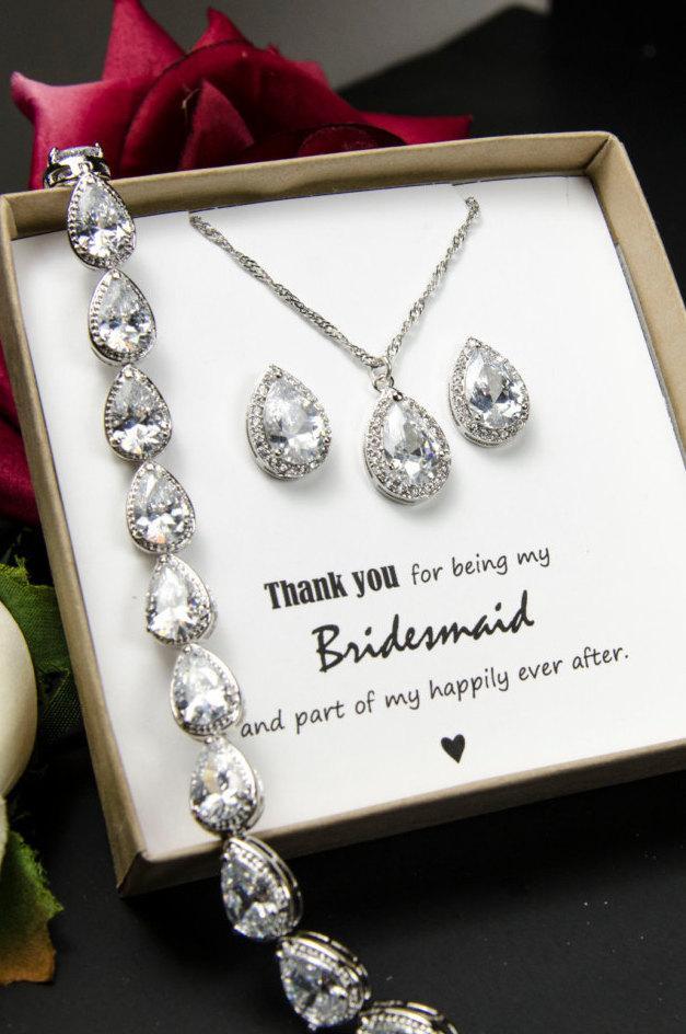 Wedding - Personalized Bridesmaid Gift, Crystal Wedding Jewelry Gift Set, Bridal Studs and Bracelet Set , Bridesmaid Earrings Bracelet Necklace Set,