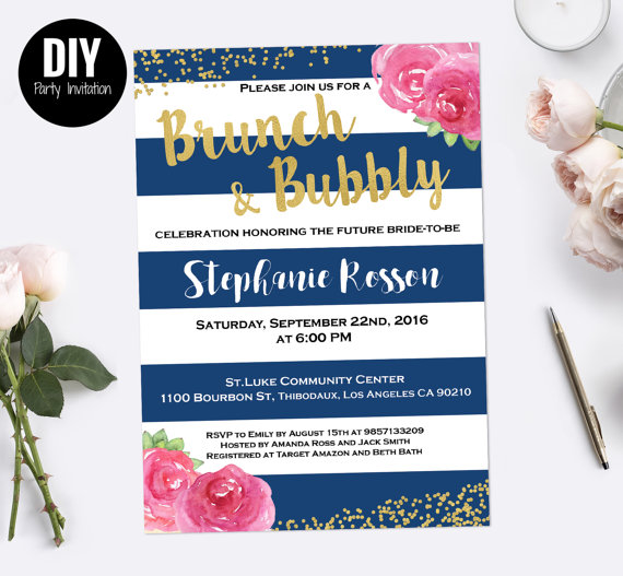 Свадьба - Stripe Brunch and bubbly bridal shower invitation