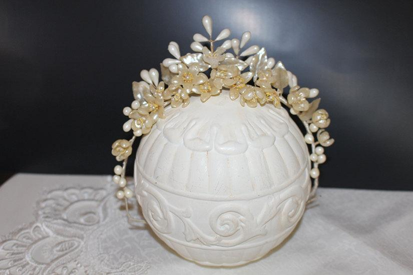 Свадьба - Antique Wedding Bridal Wax Tiara with Orange Blossoms,Leaves and Buds Crown Headpiece Vintage