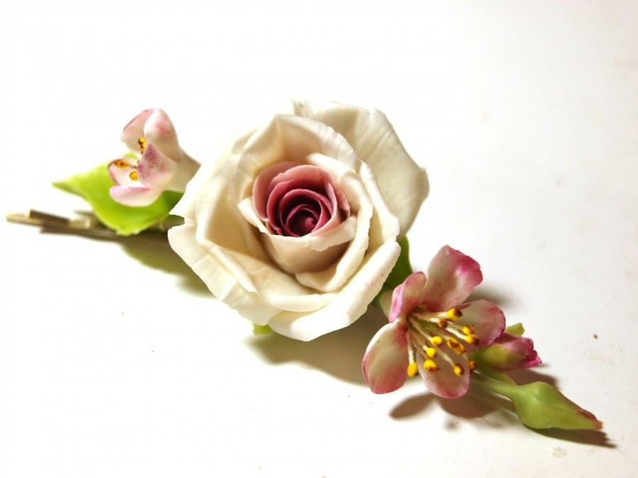 Свадьба - hair clip rose, bride hairpin, barrette with a flower barrette , wedding jewelry, cold porcelain, polymer clay