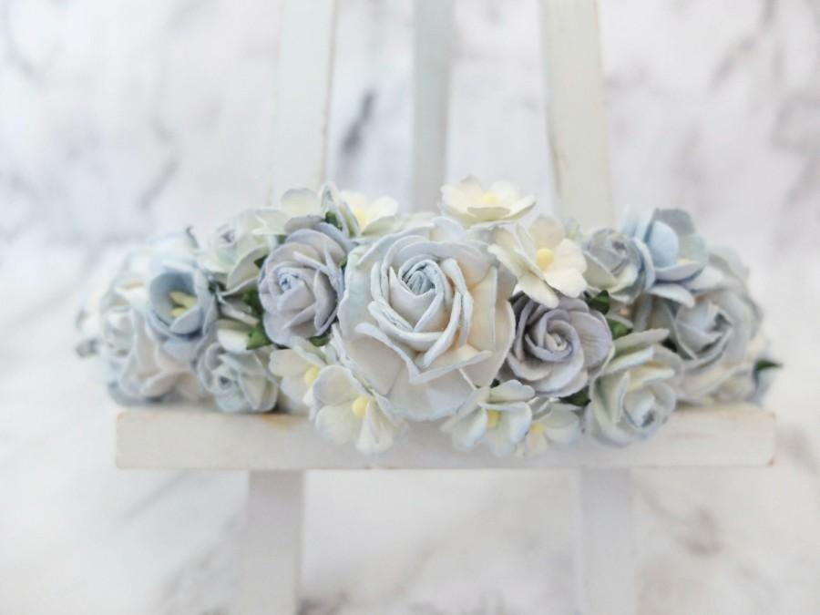 Свадьба - Light dusty blue flower crown - wedding hair accessories - head wreath - headpiece - garland -woodland