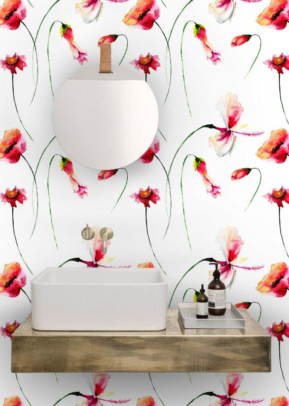Poppies watercolor 5pictures flowers wallpaper removable Floral peel and stick wallpaper
