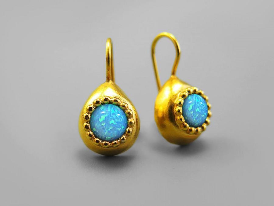 Mariage - Opal earrings, Opal Gold Earrings, Blue Drop Gold Opal Earrings, Opal Jewelry, Fire Opal Gold Earrings, Gift For Woman, Birthstone Earrings