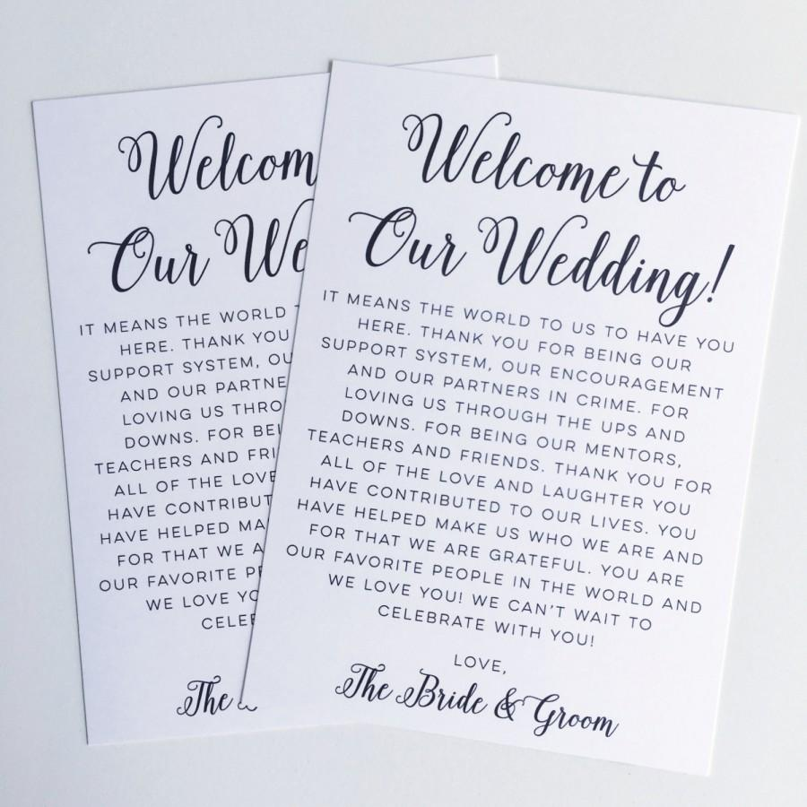 Printable Wedding Welcome Letter Instant Download Destination