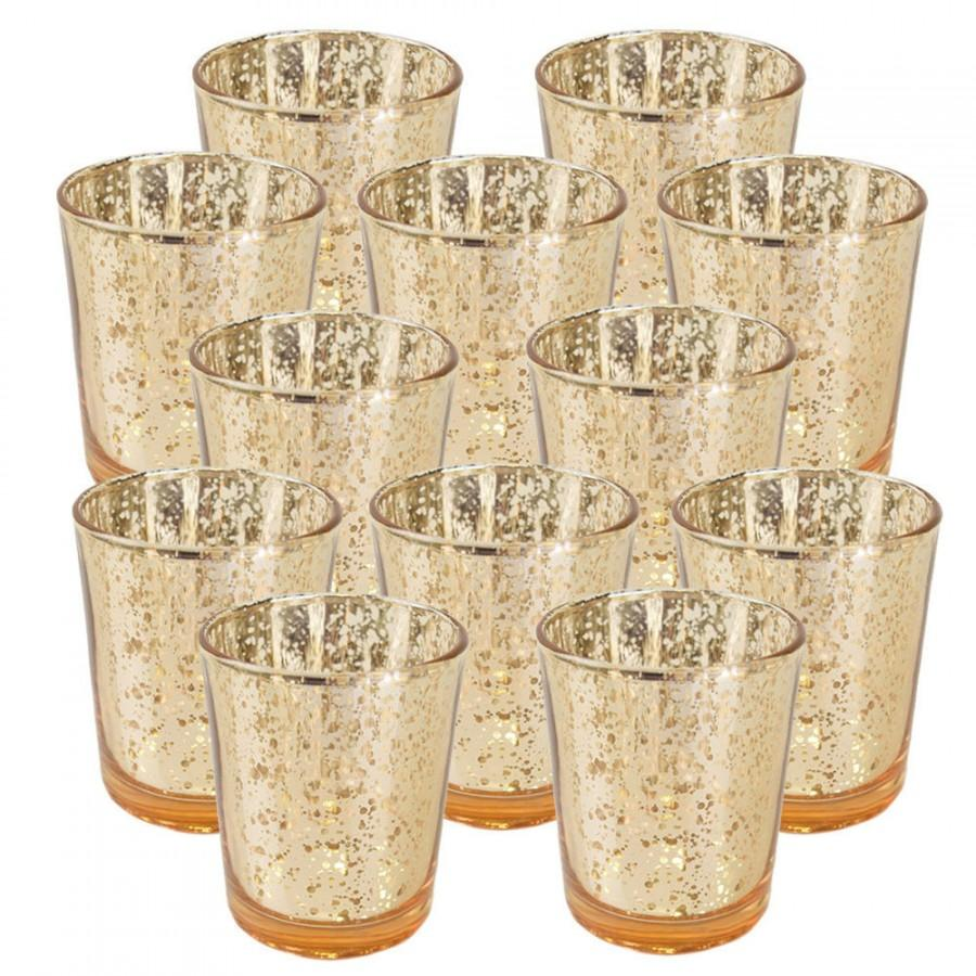 "Wedding - Mercury Glass Votive Candle Holder 2.75""H Speckled Gold - (SET OF 12, Gold) - MGV020001-12 - Votives for Weddings, Parties, & Home Decor"