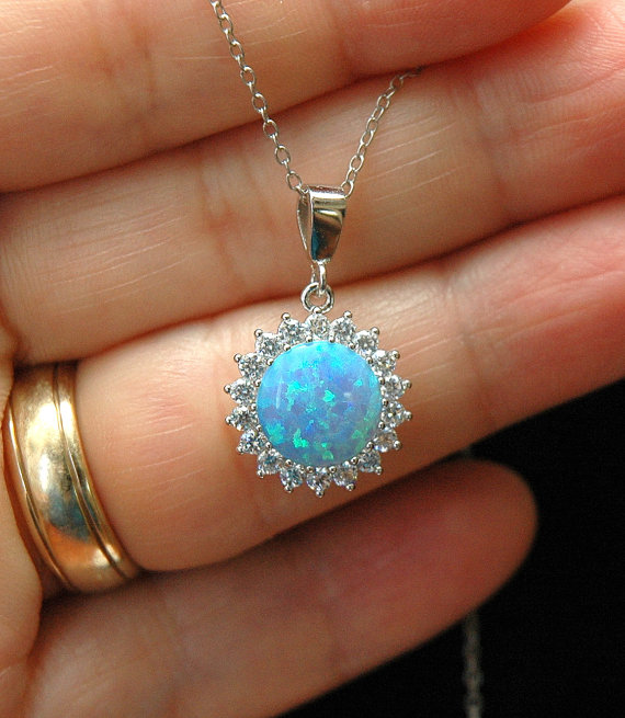 Blue Opal Amp Cz Silver Necklace October Birthstone Round
