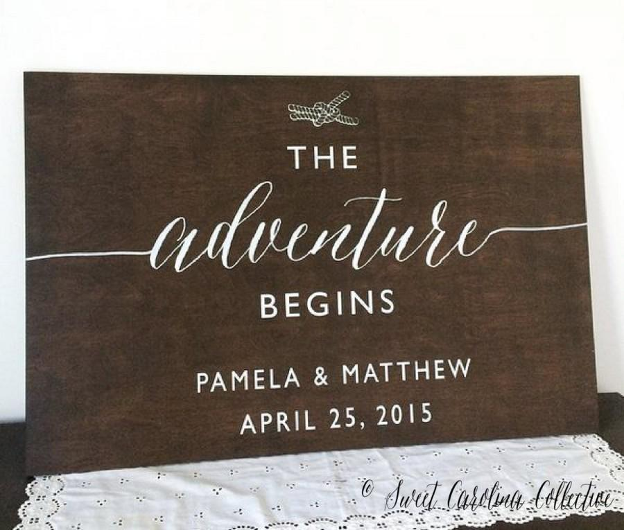Свадьба - The Adventure Begins Wedding Welcome Sign - Nautical Wedding Welcome Sign - Wood Wedding Welcome Sign - WS-166