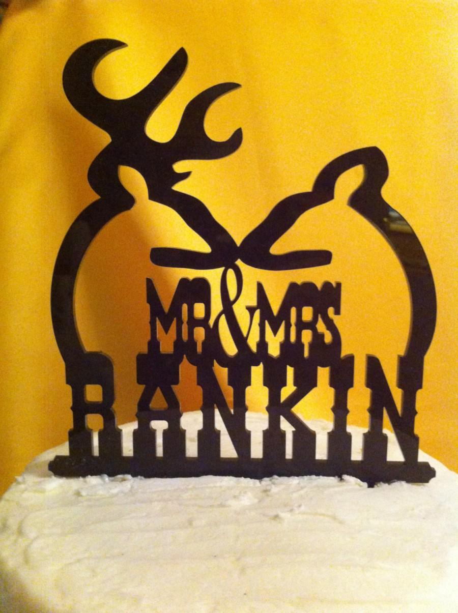 Свадьба - Silhouette Doe and Buck Western Font Surname Wedding Cake Topper  MADE In USA…..Ships from USA