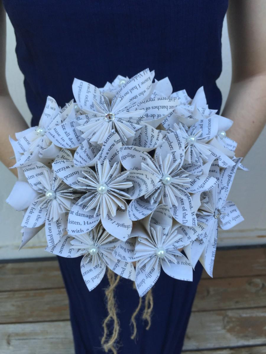 Book Page Paper Flower Bouquet Book Themed Wedding Bouquet Custom