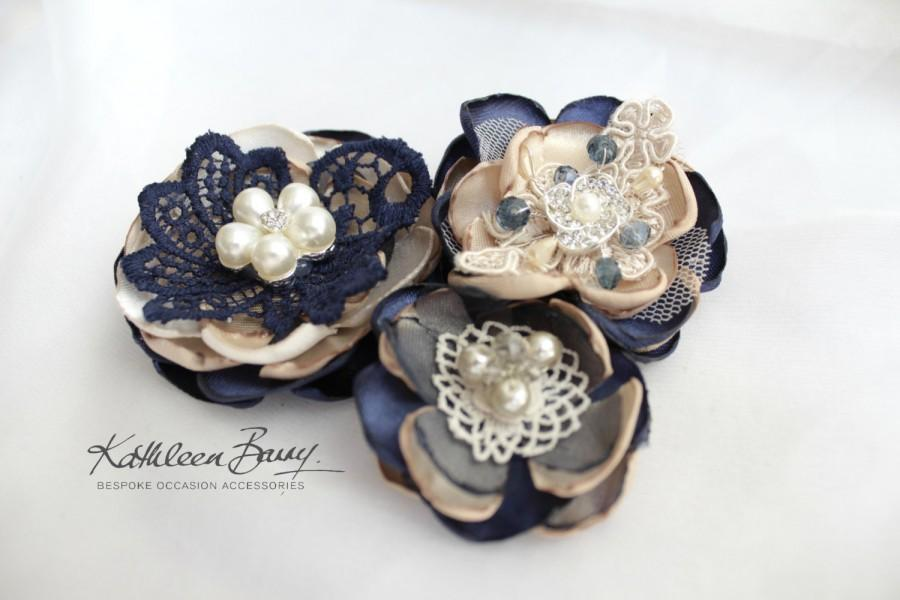 Mariage - R300 Hair flower, Vintage lace, Dress sash, brooch corsage, belt accessory Navy blue wedding accessories