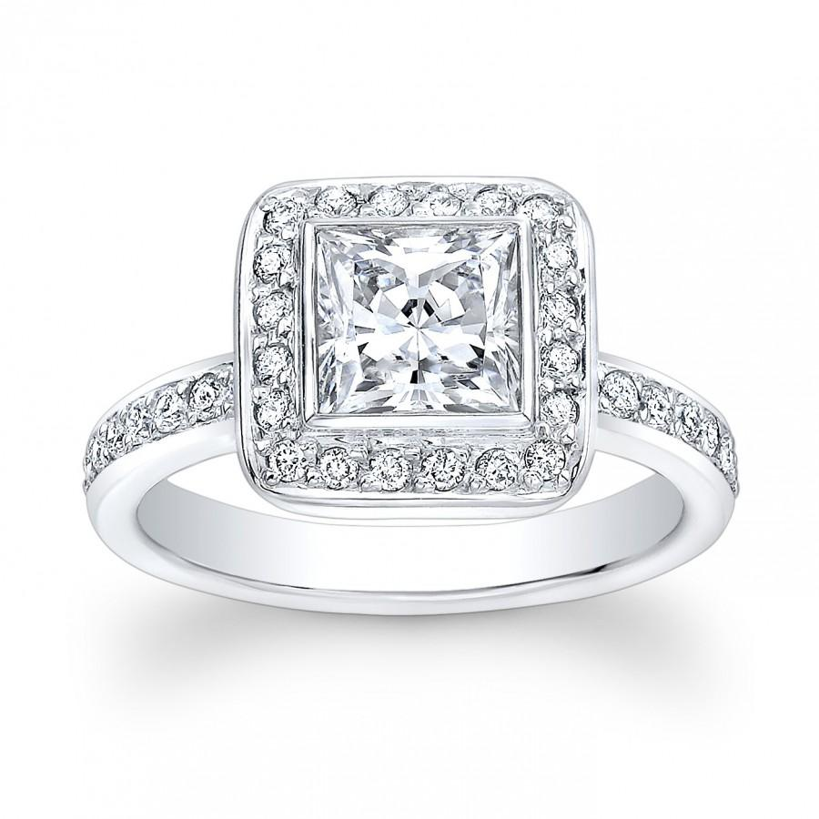 c4bc7bd17 Women's 18kt white gold vintage engagement ring with 1ct Princess Cut White  Sapphire Center and 0.50 ctw G-VS2 pave diamonds