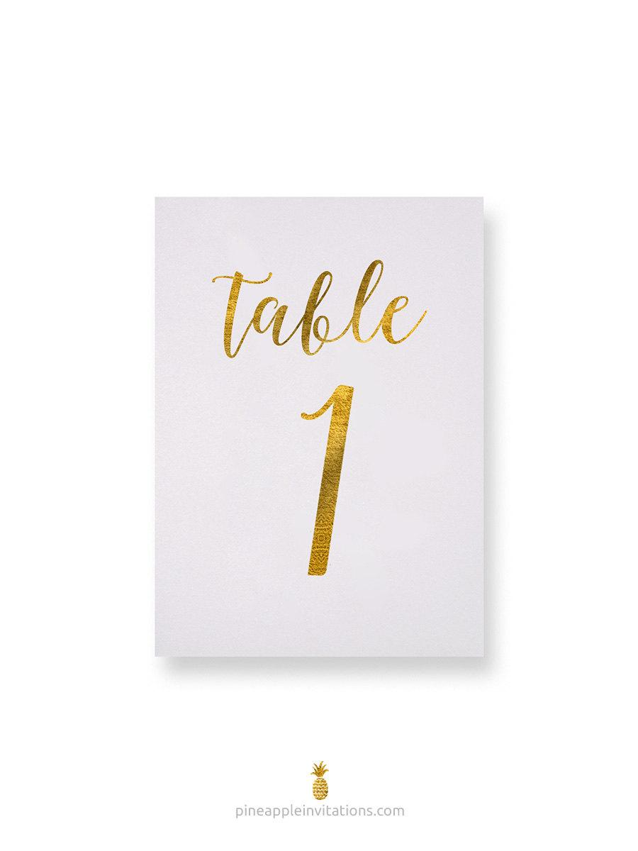 Mariage - Octavia Gold Foil Table Numbers - Gold Table Number Cards - Both Sides - Wedding Table Numbers with Gold Foil
