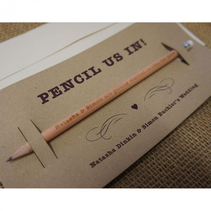 Mariage - Pencil Us In - Save the Dates 30x (min order) single sided,engraved round long pencils