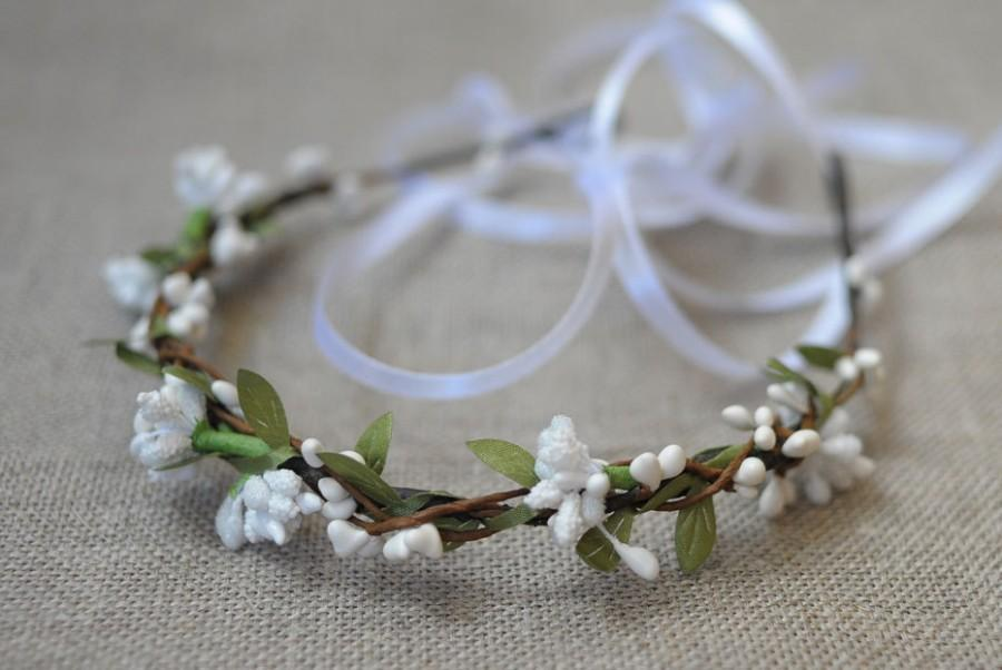 Woodland Wedding Flower Circlet Green Leaf White Flower Tiara Rustic