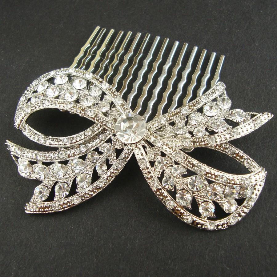 Свадьба - Bridal Hair Comb, Vintage Retro Wedding Hair Comb, Wedding Hair Accessories, Crystal Bow, Art Deco Bridal Hair Piece, LOLA