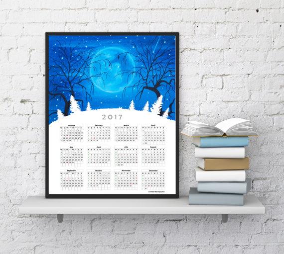 Wall Calendar 2017, Desk Calendar, Office Calendar 2017, Yearly ...