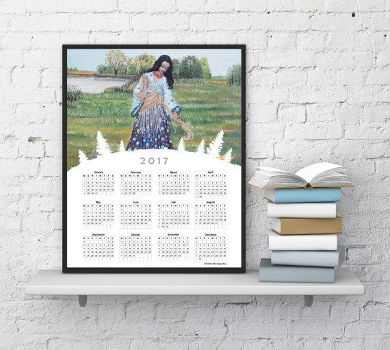 Wall Calendar 2017, Painting Calendar 2017, Printable Calendar, Girl ...