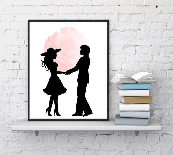 picture regarding Printable Silhouettes known as Pair Print Artwork, Couple of Silhouettes, Handful of Within just Delight in, Huge