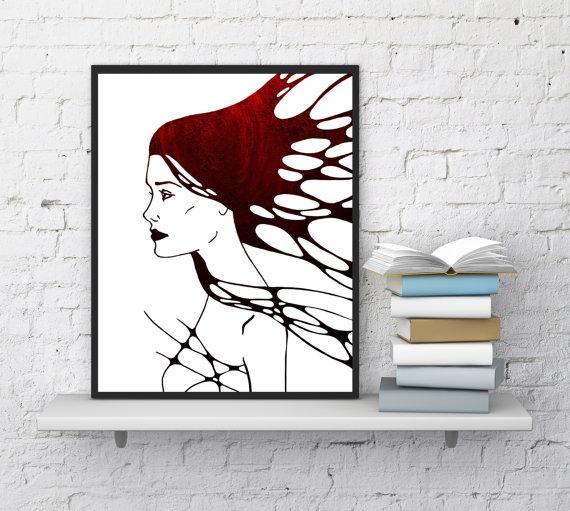 image about Printable Room Decor identified as Girl Confront Print, Minimalist Print Artwork, Mattress Area Decor
