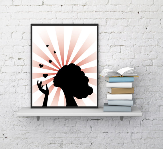 Woman Print, Woman Portrait, Woman Face, Romantic Wall Decor, Hearts ...