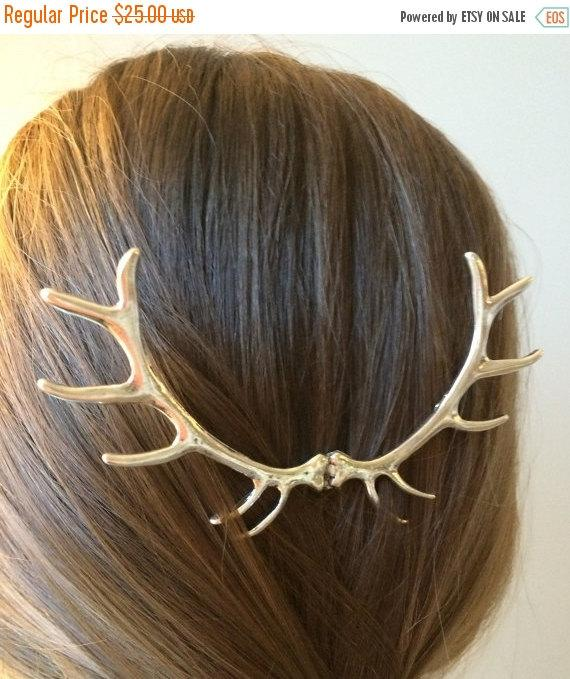 Mariage - SALE Sale Silver Antler Hair Pin Elk Antler Hair Sculpture Silver Hunting Hair Piece Woodland Wedding Costume Hair Pin Deer Hair Accessories