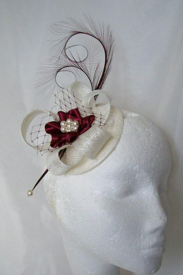Mariage - Ivory & Burgundy Wine Isadora Fascinator Mini Hat Curl Feathers and Pearls - Made To Order
