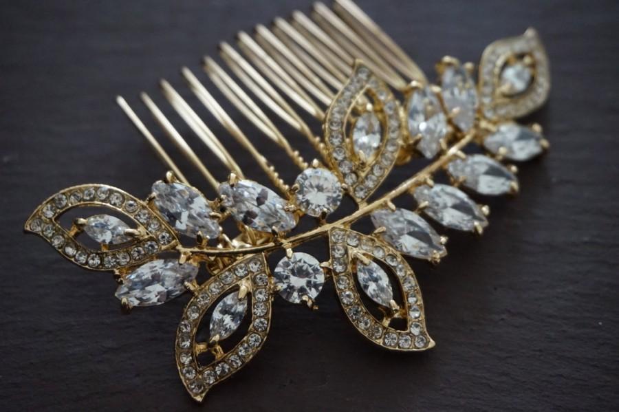 Mariage - Bridal hair comb, Gold hair comb, Wedding leaf hair comb, Bride autumn hair comb, leaves bridal hair comb, gold hair comb, gold plated comb