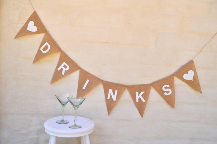 Mariage - DRINKS Banner Hessian Burlap Celebration Engagement Wedding Party Banner Bunting Decoration Birthday
