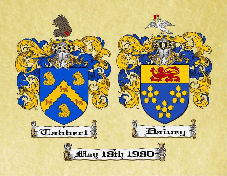 Mariage - ANNIVERSARY CREST - Dual Coat of Arms / Family Crest for Married Couples printed on a Parchment scroll