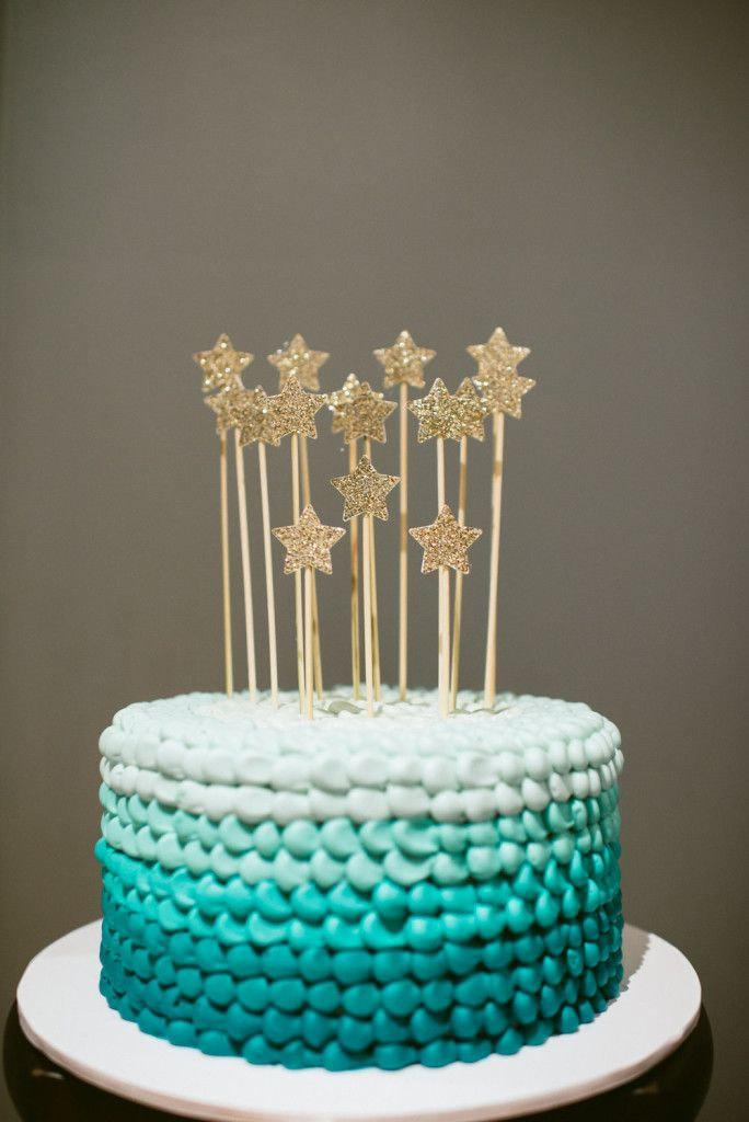 Gold Glitter Stars Cake Toppers