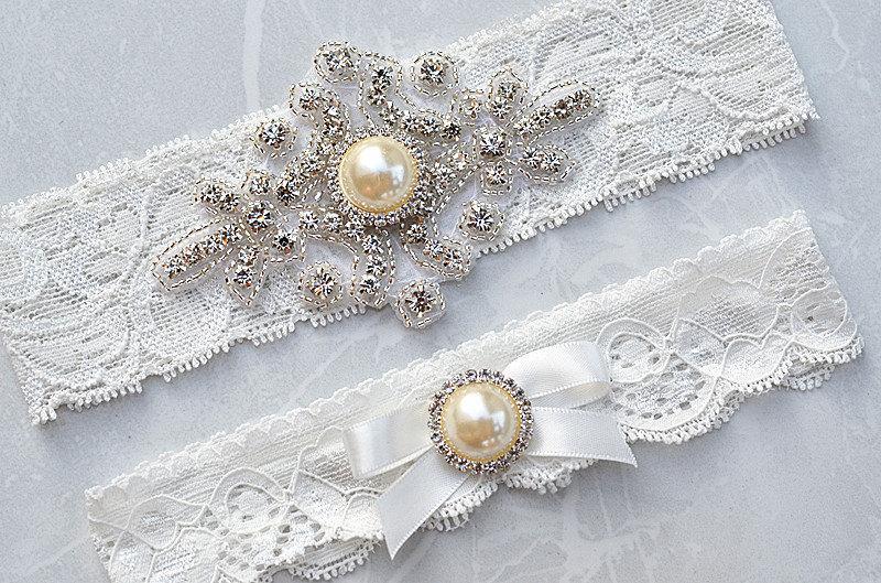 Crystal Rhinestone on a StretchLace SALE Wedding Garter Set