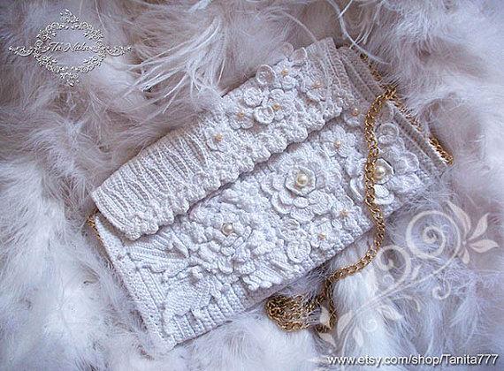 Elegant Women Bag Bridal Clutch Irish Lace Wedding White Handbag