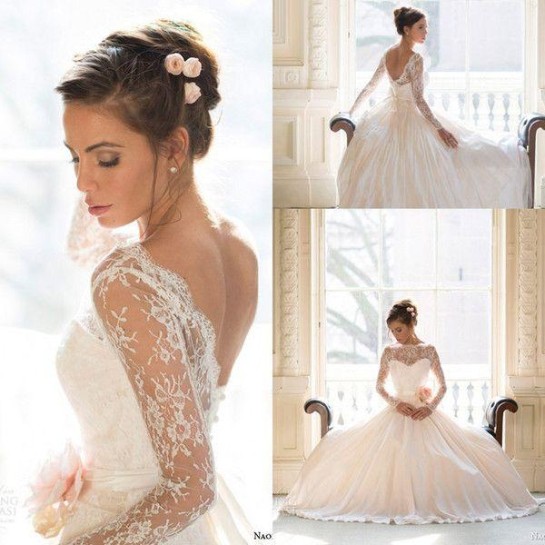 Sheer Lace Long Sleeves Open Back Royal Ball Gown Wedding Dresses