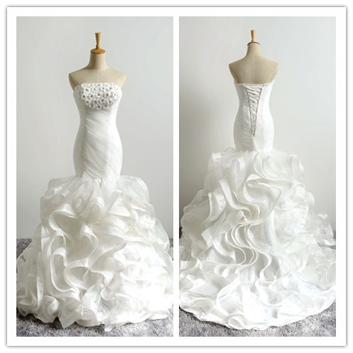 Wedding - Mermaid Sweetheart White Ruffle Tiered Wedding Dress