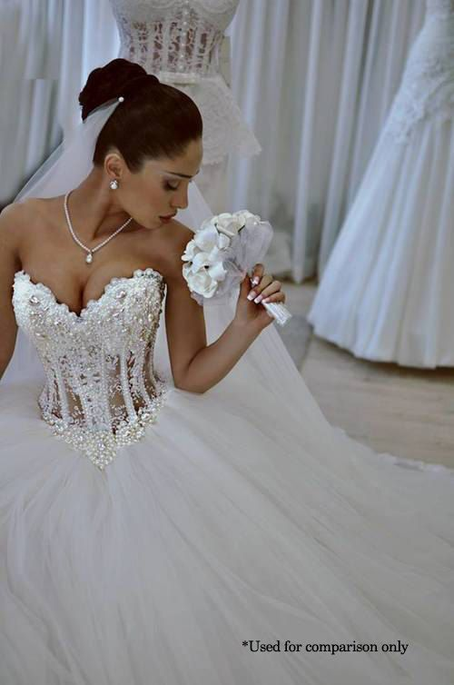 Busty corset wedding dress