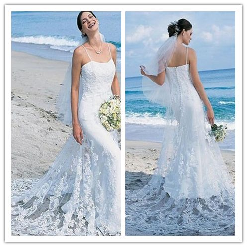 Spaghetti Straps Wedding Dresses, Lace Long Beach Wedding Dresses ...