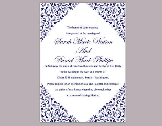 Wedding - DIY Wedding Invitation Template Editable Word File Instant Download Printable Flower Invitation Blue Invitation Navy Blue Invitation