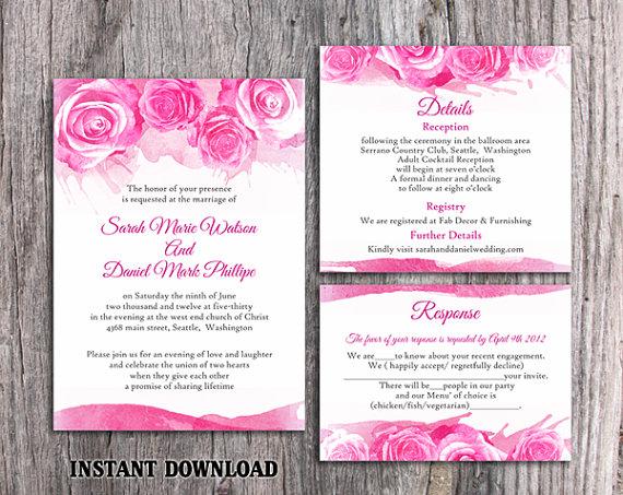 Hochzeit - DIY Watercolor Wedding Invitation Template Set Editable Word File Download Printable Pink Invitation Peonies Invitation Rose Invitation