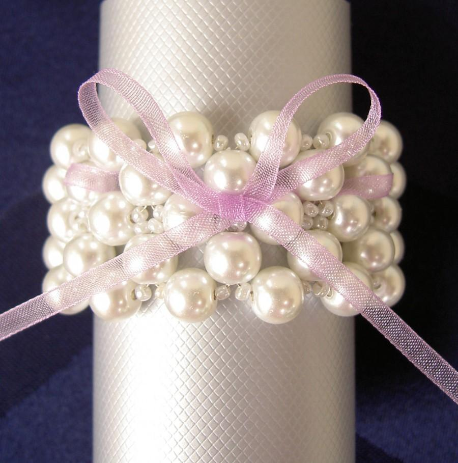 Hochzeit - Wedding Napkin Rings - Pearls Napkin Rings - Beaded Napkin Rings - Wedding Table Decoration   - Set of 6