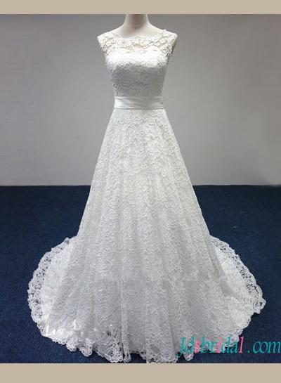 Mariage - H1429 Cheap lace a line wedding dress with illusion bateau neck