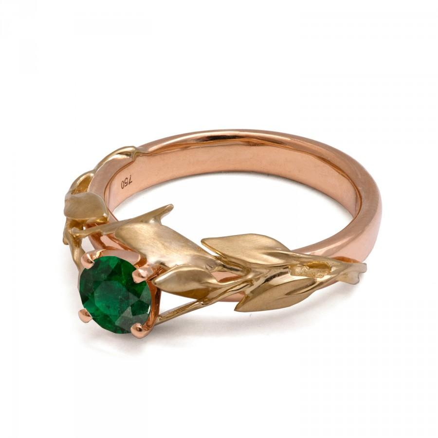 Mariage - Two Tone Leaves Emerald Ring - 18K Rose and Yellow Gold and Emerald Engagement ring, unique engagement ring,leaf ring,antique,art nouveau,4B