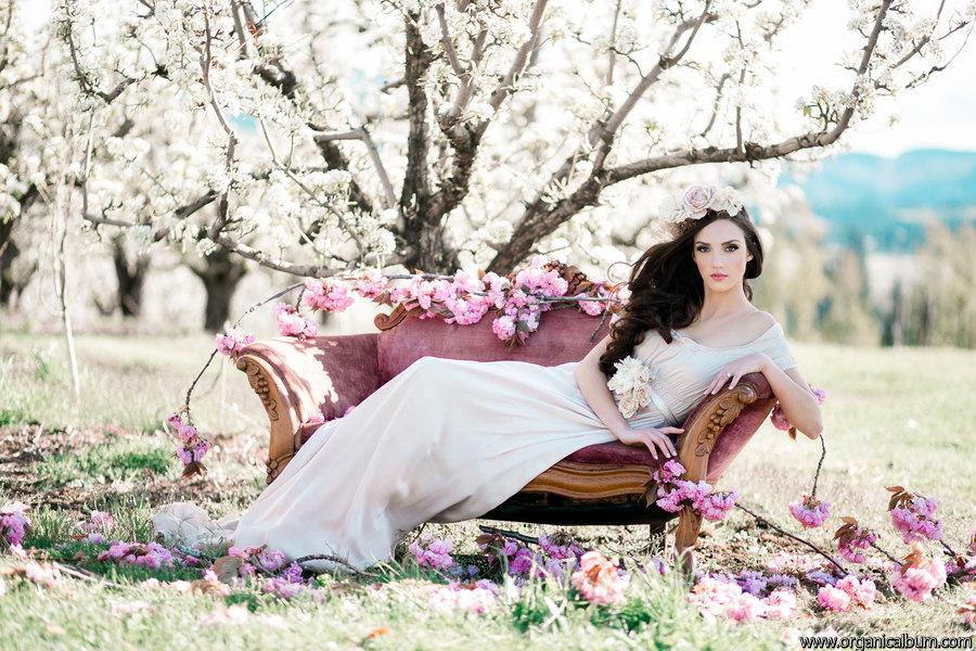 Mariage - Silk Chiffon Wedding Dress with Train and Empire Waist. Custom made to Order Alternative Wedding Dress. The Duchess Gown.
