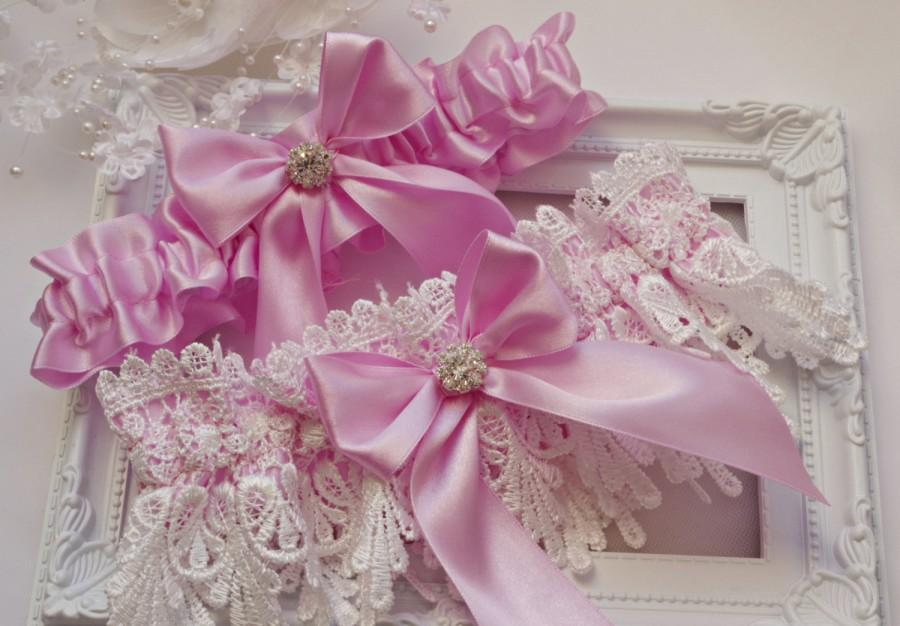 Hochzeit - Wedding Garter Bridal Garter Set Lace Garter Pink White Lace Garter Set Pink Garter Set Pink Wedding Garter Pink Bridal Garter White Garter