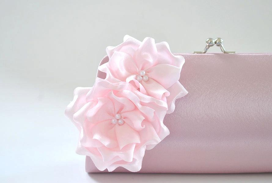 Wedding - Dusty Rose - Pale Pink - Bridesmaid Clutch / Bridal clutch